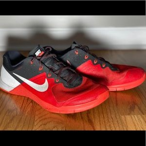 Nike Metcon 2 in red, black and white. Men's 12.5